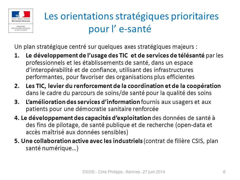 Les orientations stratégiques prioritaires pour l' e-santé
