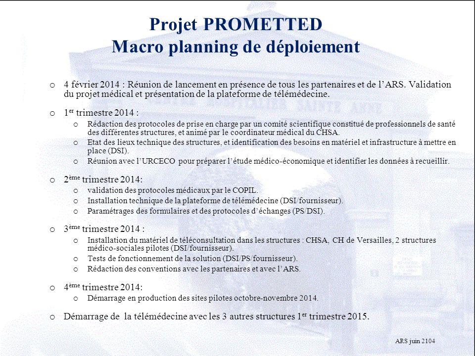 Projet PROMETTED Macro planning de déploiement