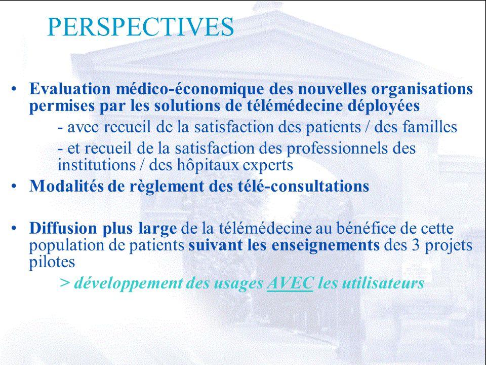 PERSPECTIVES Evaluation médico-économique des nouvelles organisations permises par les solutions de télémédecine déployées.