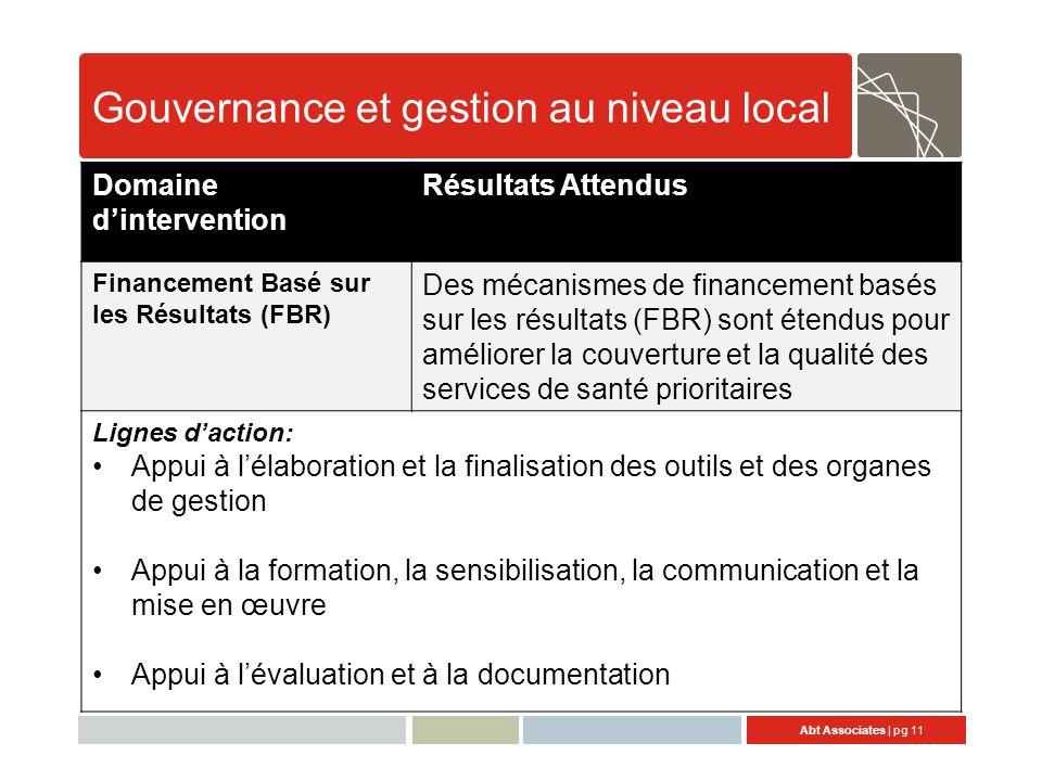 Gouvernance et gestion au niveau local