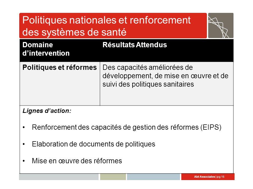 Politiques nationales et renforcement des systèmes de santé