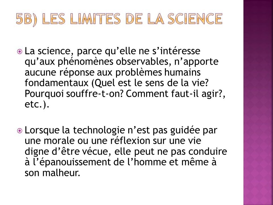 5b) les limites de la science