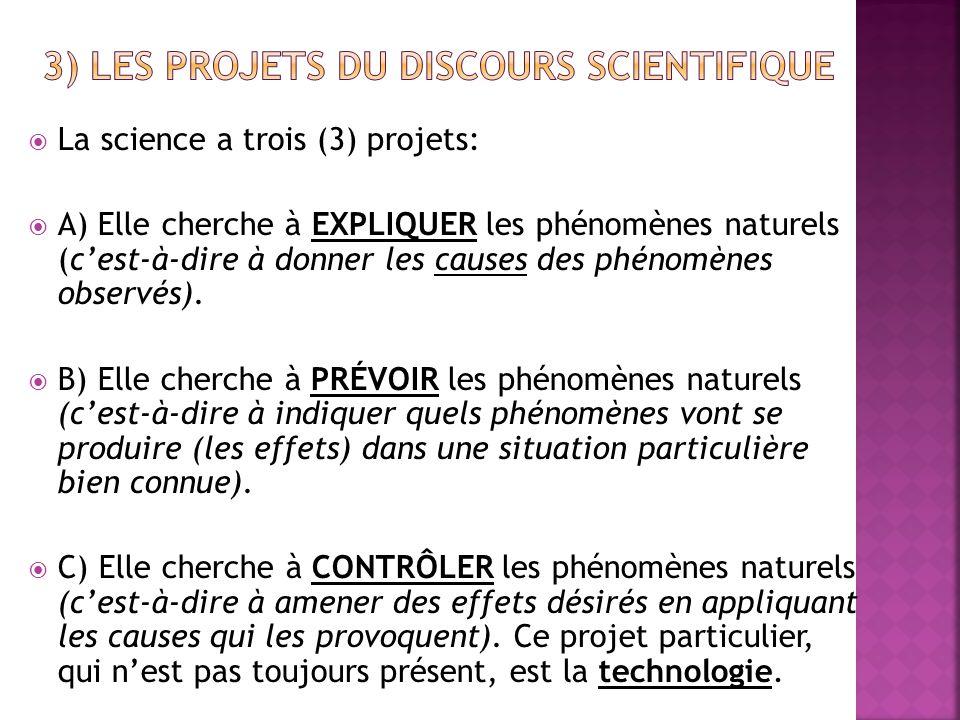 3) Les projets du discours scientifique
