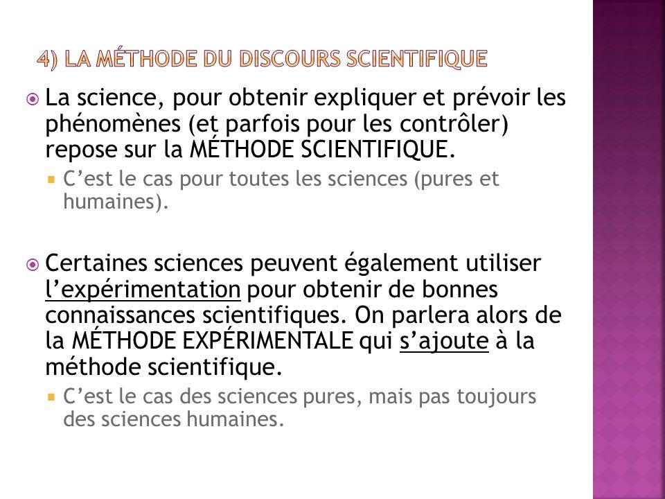 4) LA MÉTHODE DU DISCOURS SCIENTIFIQUE