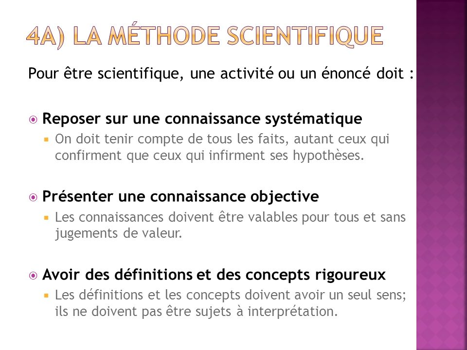 4a) la méthode scientifique