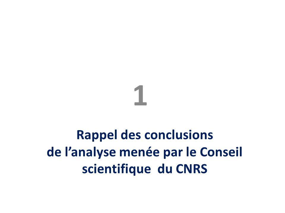1 Rappel des conclusions de l'analyse menée par le Conseil scientifique du CNRS