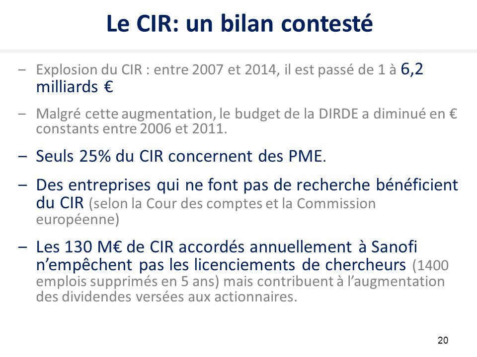 Le CIR: un bilan contesté