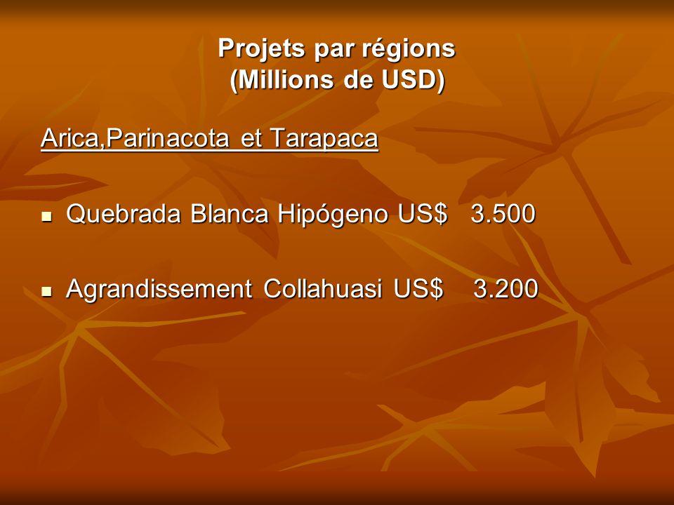 Projets par régions (Millions de USD)