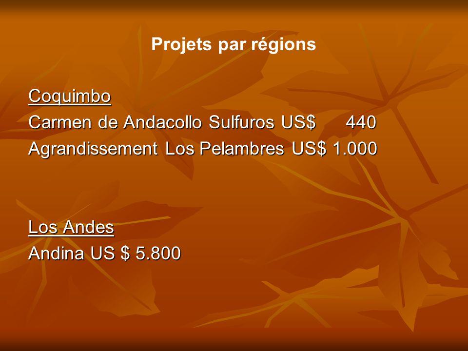Projets par régions Coquimbo. Carmen de Andacollo Sulfuros US$ 440. Agrandissement Los Pelambres US$ 1.000.