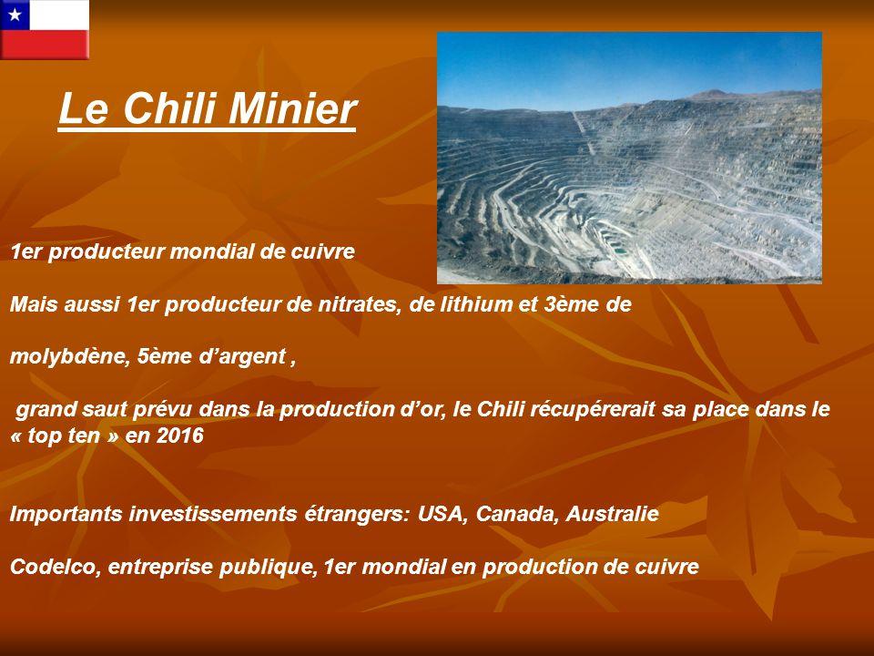 Le Chili Minier 1er producteur mondial de cuivre