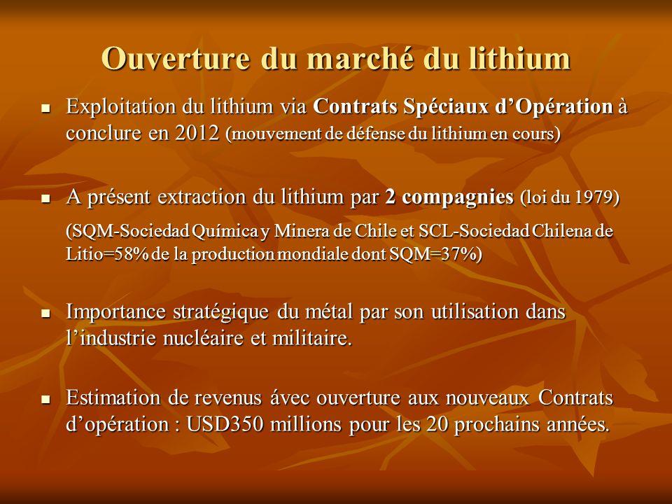Ouverture du marché du lithium