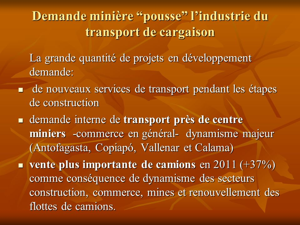 Demande minière pousse l'industrie du transport de cargaison