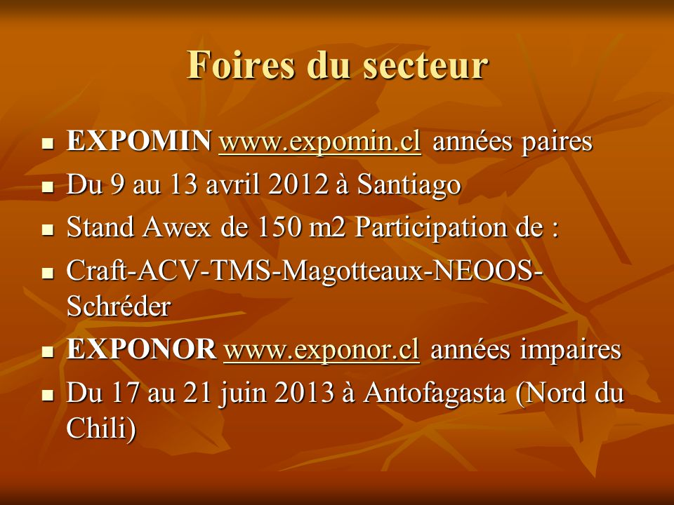 Foires du secteur EXPOMIN www.expomin.cl années paires
