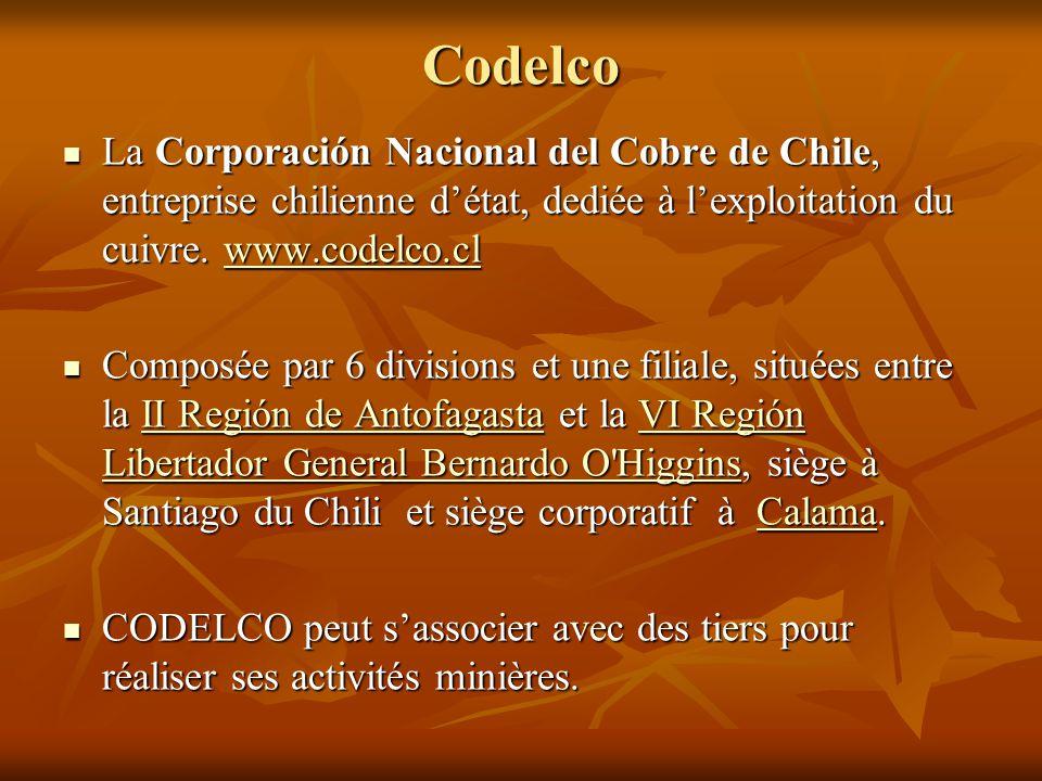 Codelco La Corporación Nacional del Cobre de Chile, entreprise chilienne d'état, dediée à l'exploitation du cuivre. www.codelco.cl.