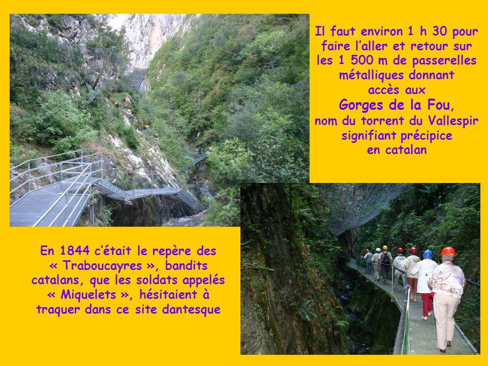 Il faut environ 1 h 30 pour faire l'aller et retour sur les 1 500 m de passerelles métalliques donnant accès aux Gorges de la Fou, nom du torrent du Vallespir signifiant précipice en catalan