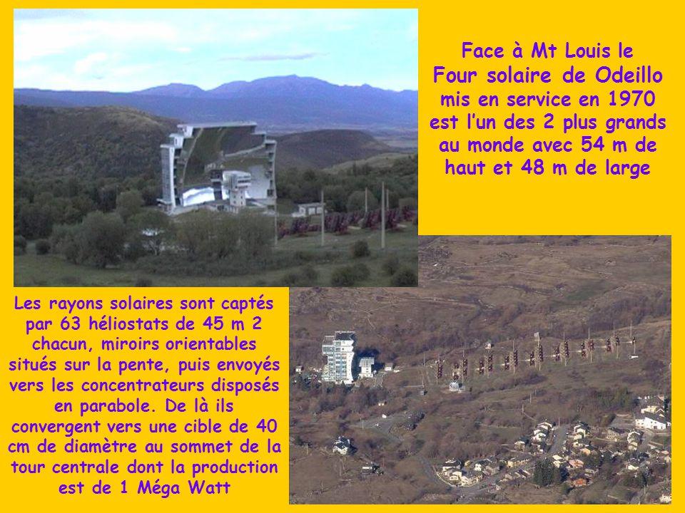 Face à Mt Louis le Four solaire de Odeillo mis en service en 1970 est l'un des 2 plus grands au monde avec 54 m de haut et 48 m de large