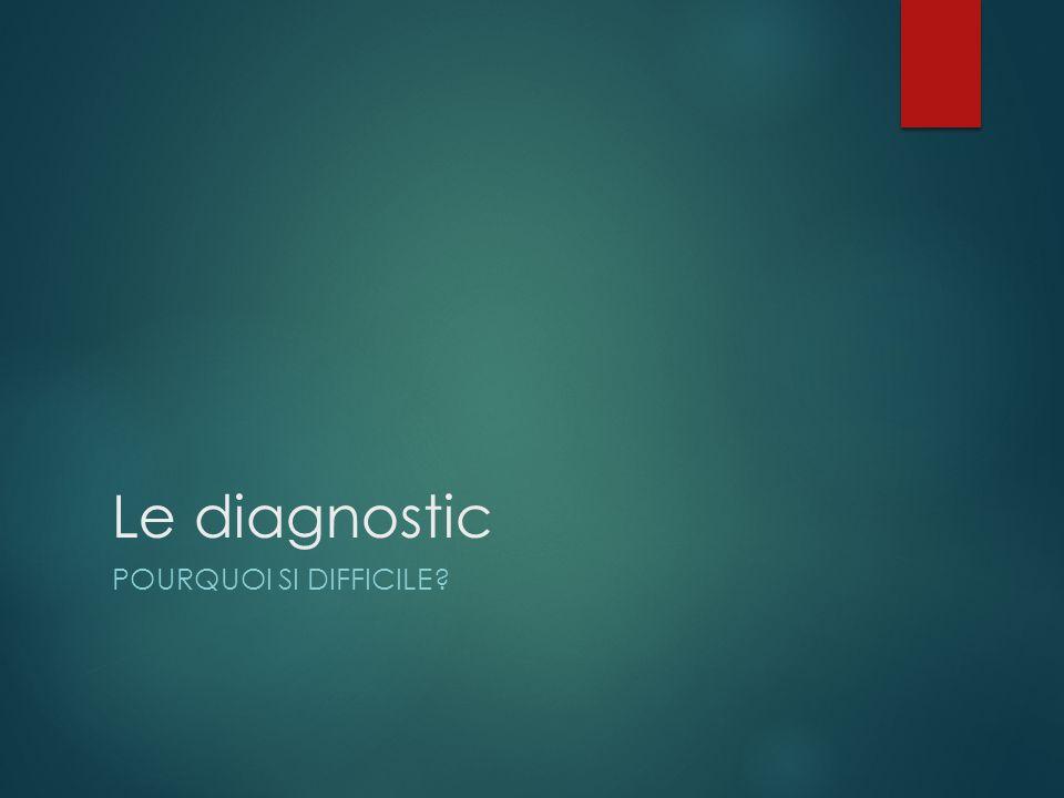 Le diagnostic Pourquoi si difficile