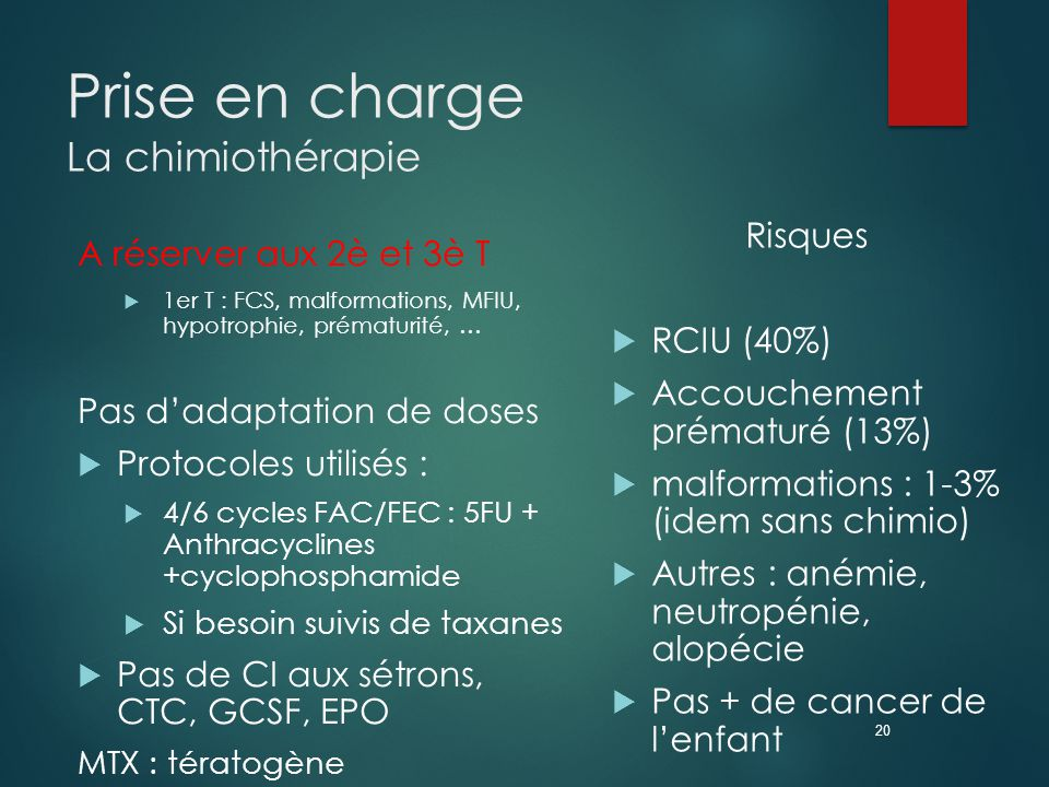Prise en charge La chimiothérapie