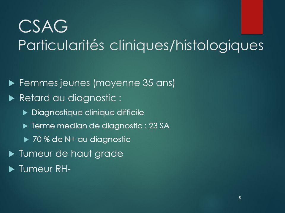 CSAG Particularités cliniques/histologiques