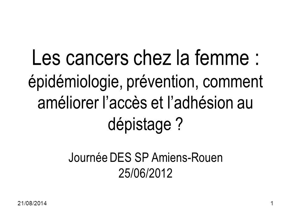 Les cancers chez la femme : épidémiologie, prévention, comment améliorer l'accès et l'adhésion au dépistage Journée DES SP Amiens-Rouen 25/06/2012
