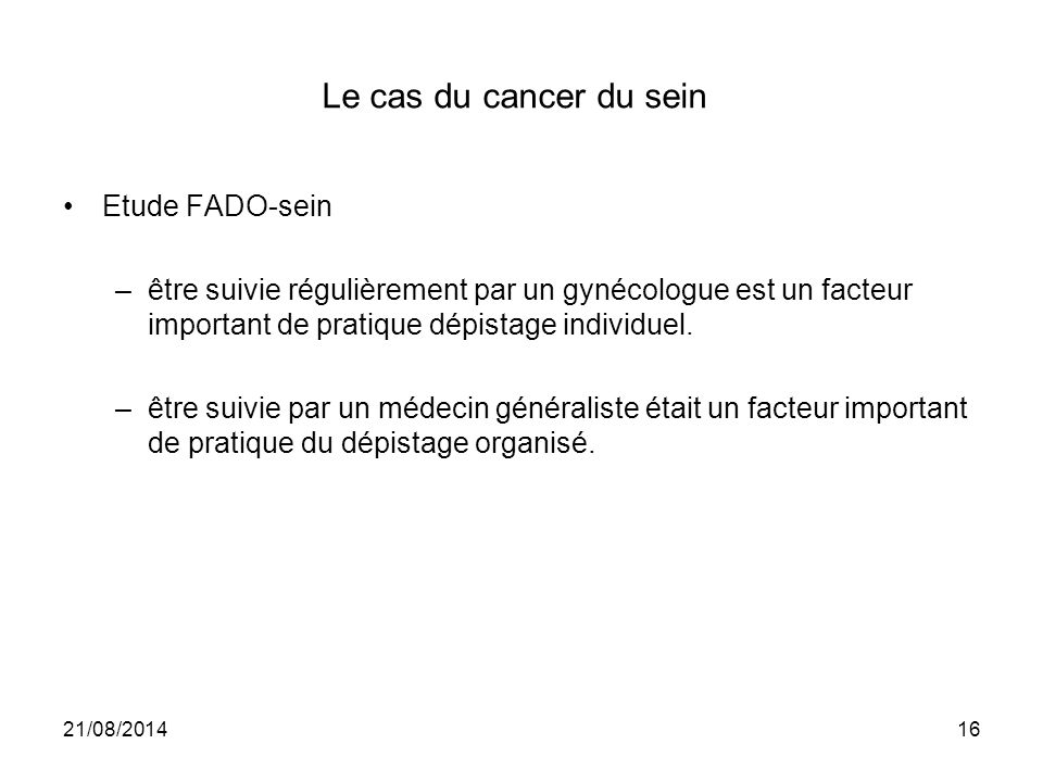 Le cas du cancer du sein Etude FADO-sein