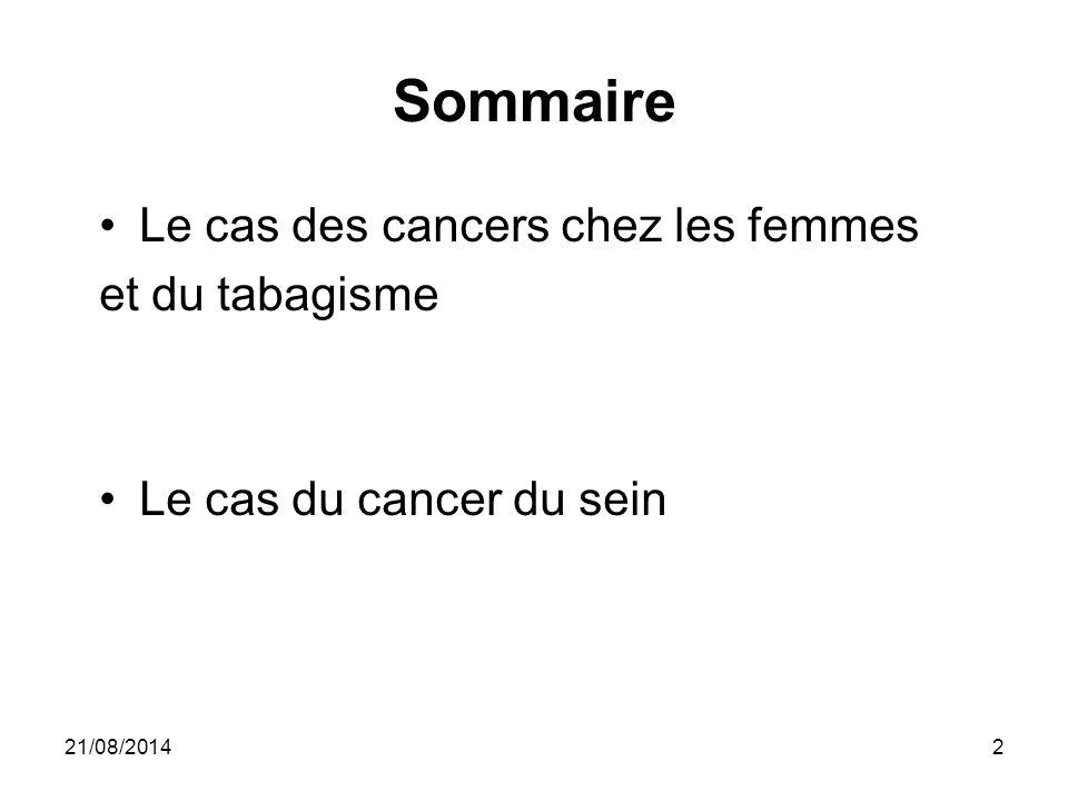 Sommaire Le cas des cancers chez les femmes et du tabagisme