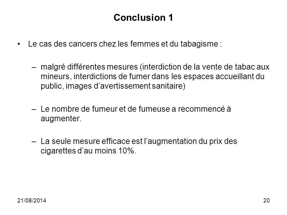 Conclusion 1 Le cas des cancers chez les femmes et du tabagisme :