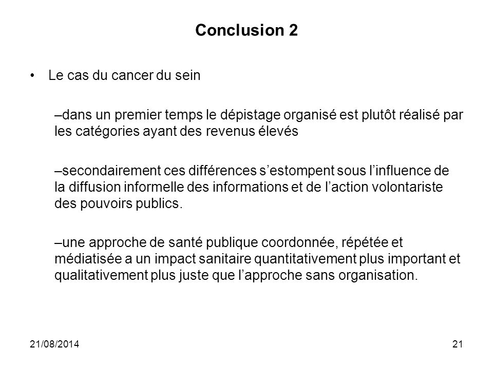 Conclusion 2 Le cas du cancer du sein