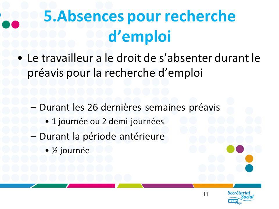 5.Absences pour recherche d'emploi