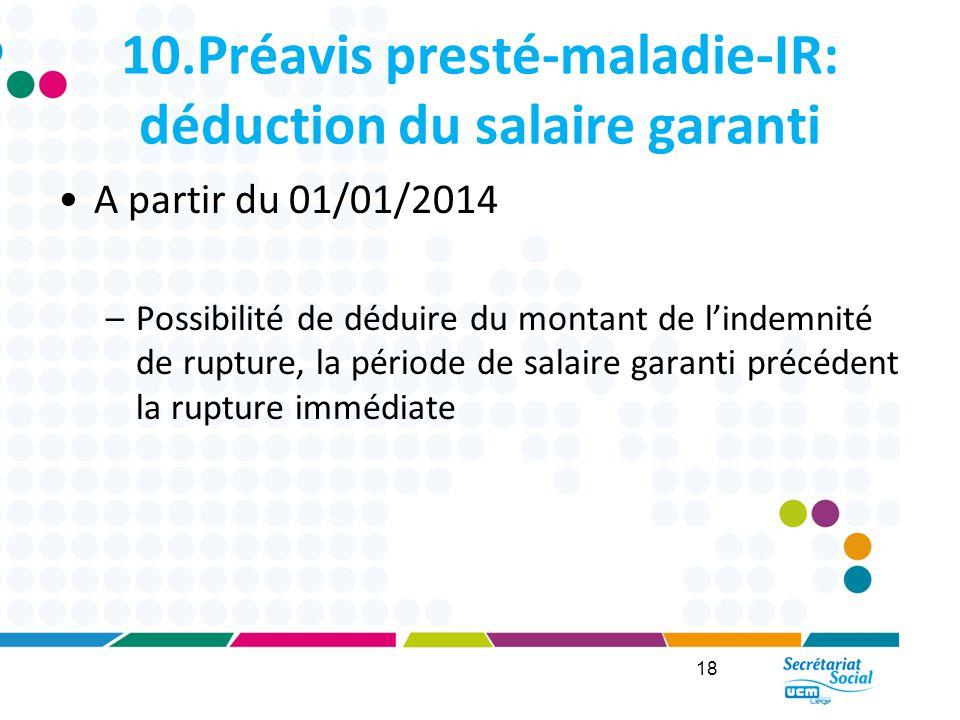 10.Préavis presté-maladie-IR: déduction du salaire garanti