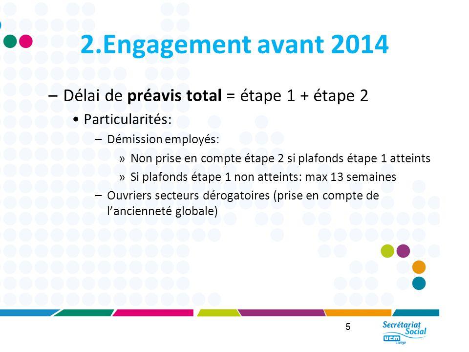 2.Engagement avant 2014 Délai de préavis total = étape 1 + étape 2