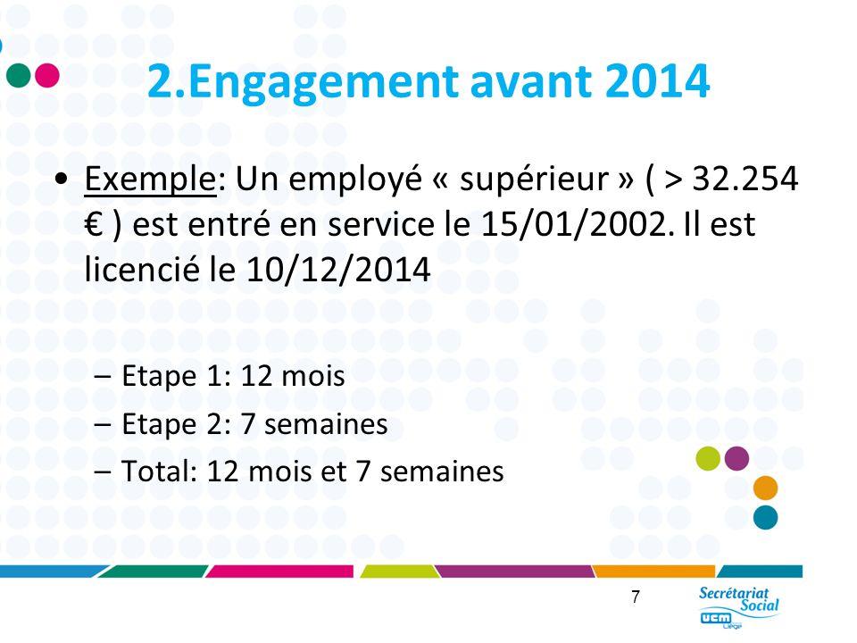 2.Engagement avant 2014 Exemple: Un employé « supérieur » ( > 32.254 € ) est entré en service le 15/01/2002. Il est licencié le 10/12/2014.