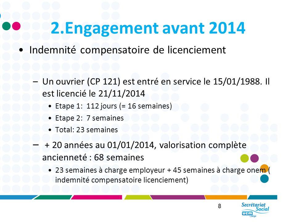2.Engagement avant 2014 Indemnité compensatoire de licenciement
