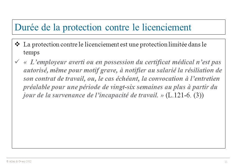 Durée de la protection contre le licenciement