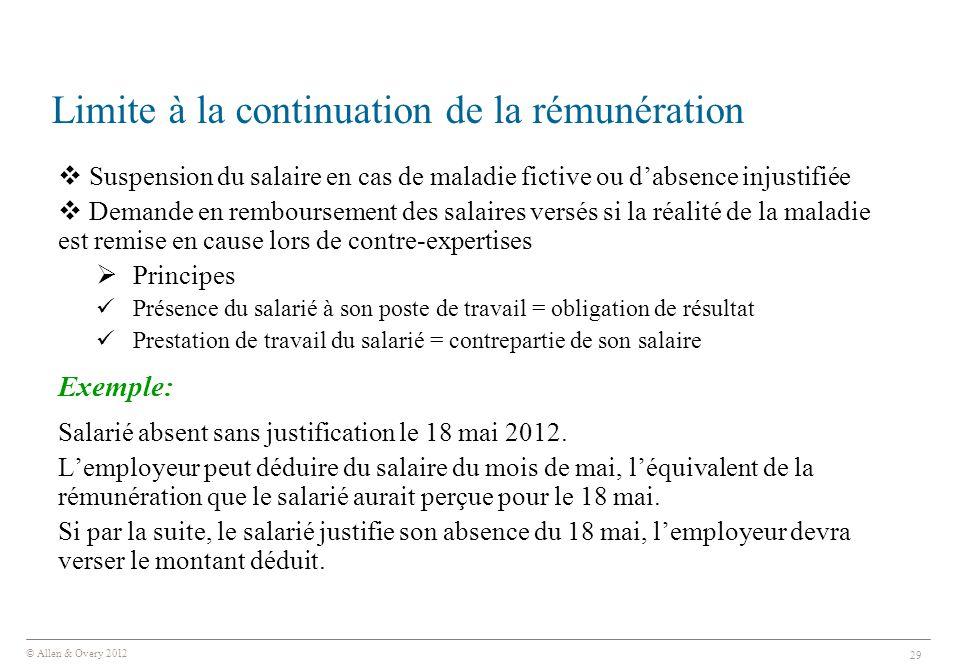 Limite à la continuation de la rémunération