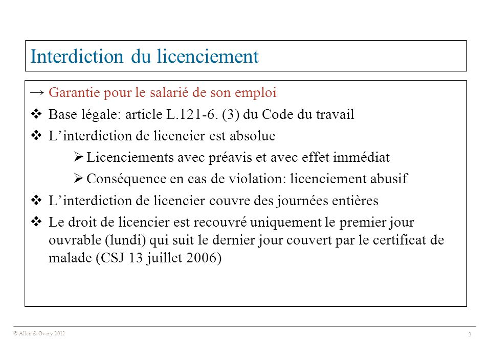 Interdiction du licenciement