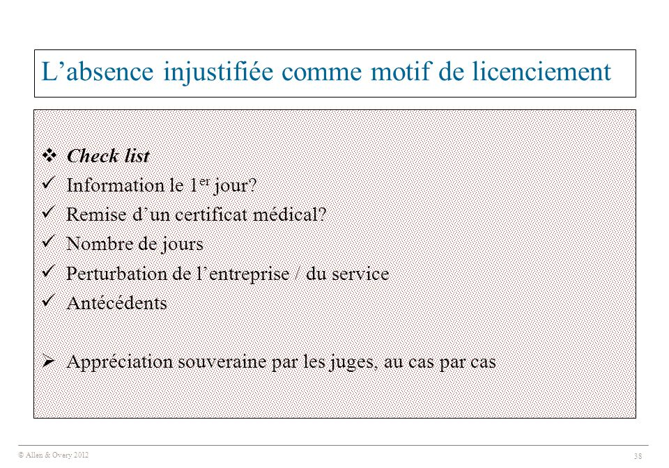 L'absence injustifiée comme motif de licenciement