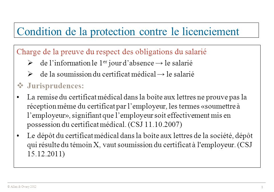 Condition de la protection contre le licenciement