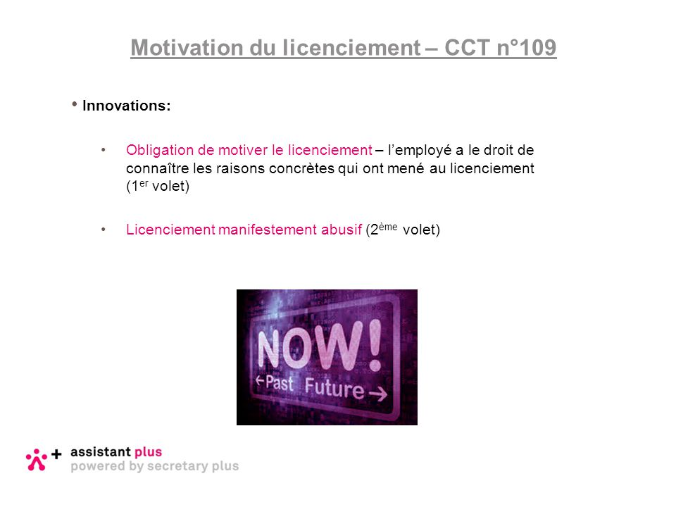 Motivation du licenciement – CCT n°109