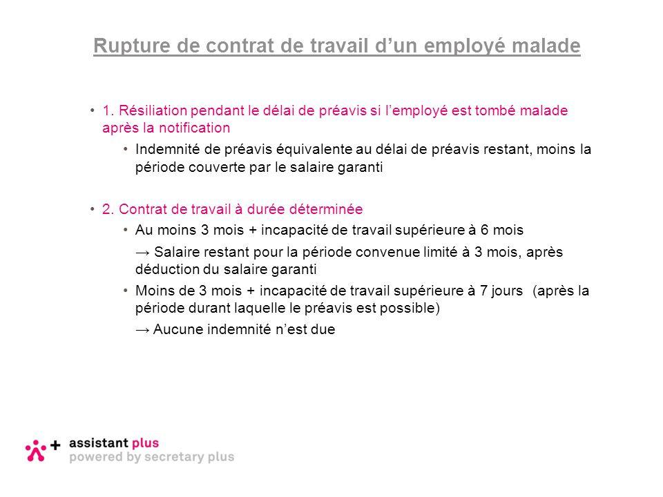 Rupture de contrat de travail d'un employé malade
