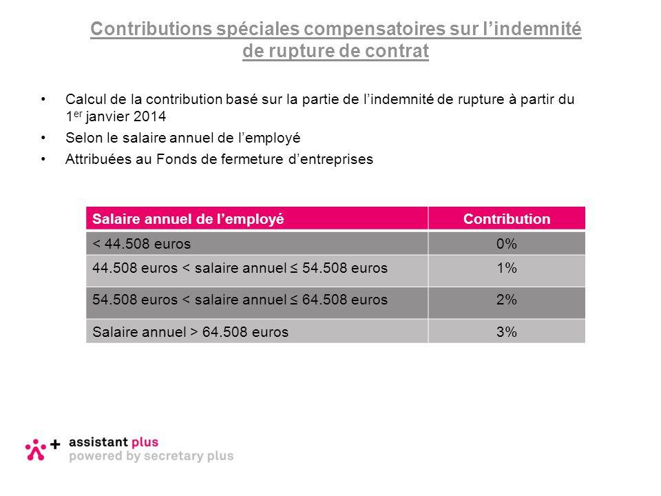 Contributions spéciales compensatoires sur l'indemnité de rupture de contrat