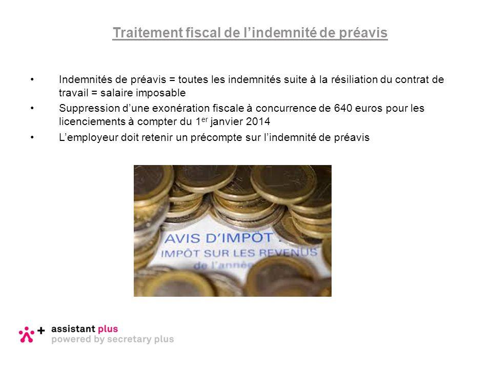 Traitement fiscal de l'indemnité de préavis