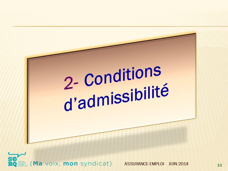 2- Conditions d'admissibilité