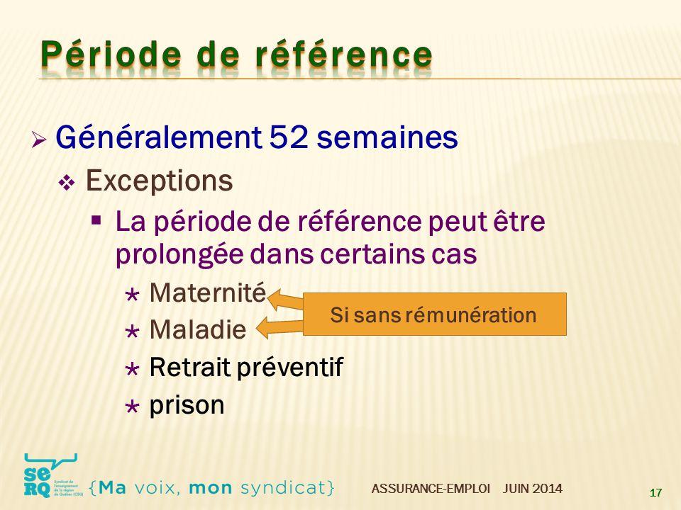 Période de référence Généralement 52 semaines Exceptions