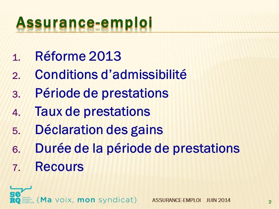 Assurance-emploi Réforme 2013 Conditions d'admissibilité
