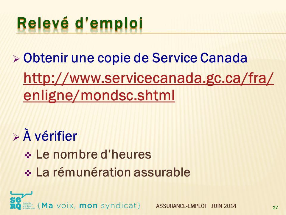 Relevé d'emploi Obtenir une copie de Service Canada À vérifier