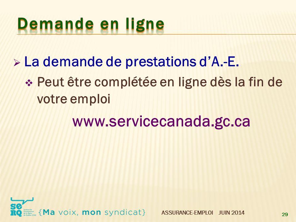 Demande en ligne www.servicecanada.gc.ca