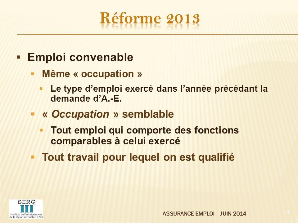 Réforme 2013 Emploi convenable « Occupation » semblable