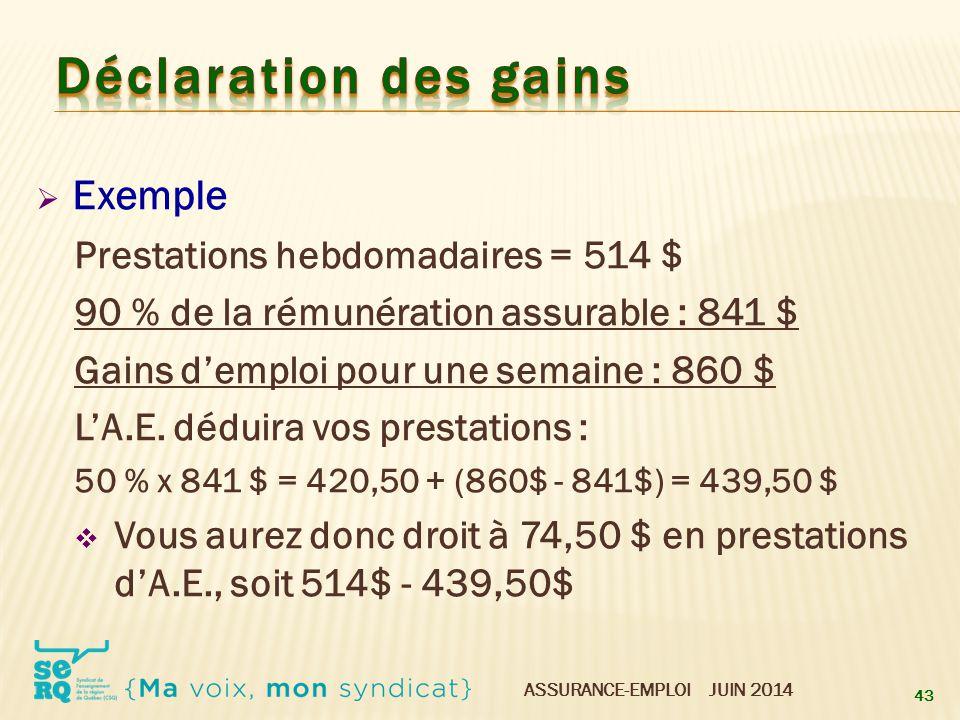 Déclaration des gains Exemple Prestations hebdomadaires = 514 $