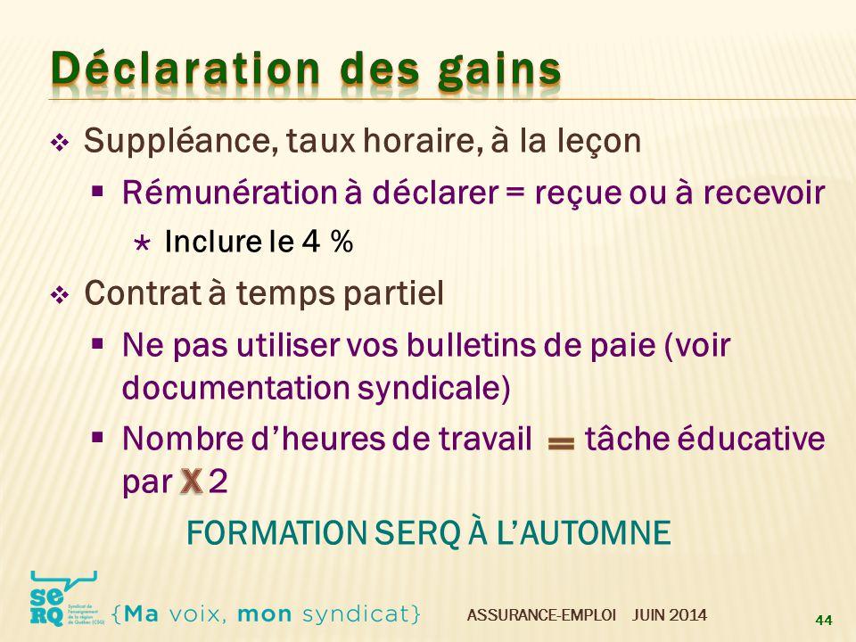 Déclaration des gains x Suppléance, taux horaire, à la leçon